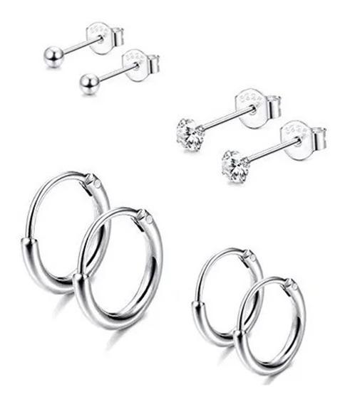 Kit Com 4 Pares De Brincos Cartilagem Piercing Prata 925