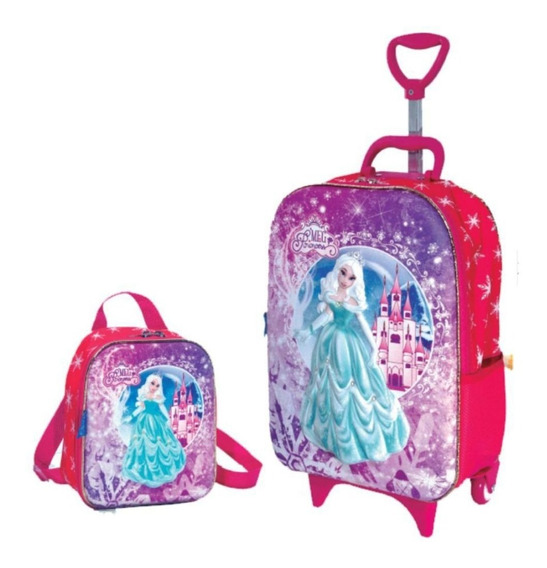 Kit 3d Meg Princess Mochila C/rodinhas E Lancheira Infantil