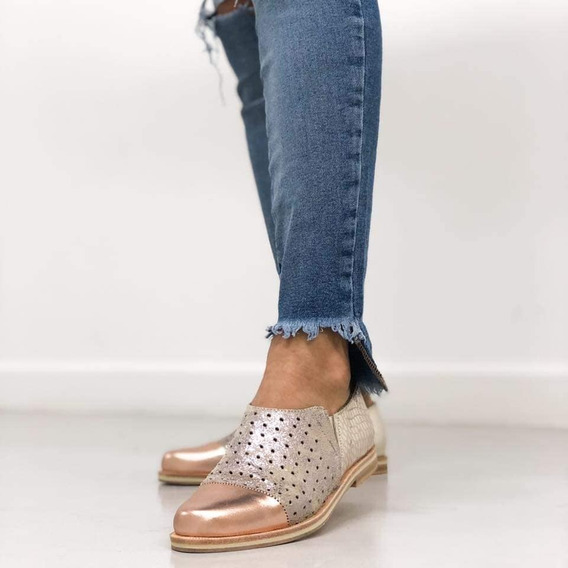 Zapatos Chatas Slipper Caladas De Cuero Vacuno 100%