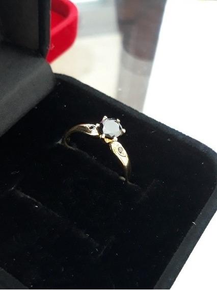 Anel Solitário, Ouro 18k Com Diamantes Negros