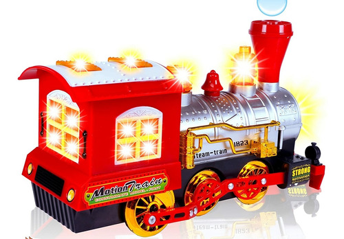 Tren Burbujero Vapor Luces Sonido Juguete Didactico Burbujas