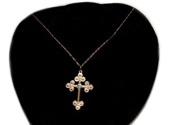 Colar Corrente Com Crucifixo Feminino Folheado A Ouro