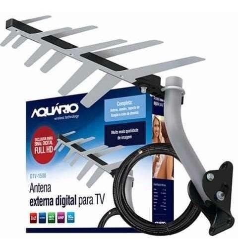 Kit Antena Externa Digital Aquário Dtv-1500 + Acessórios Nfe