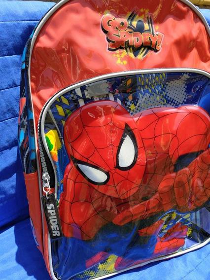Mochila 16 Original Spiderman Marca Wabro