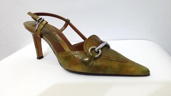 Zapatos De Cuero Verde Matizado N° 35 De Mujer - Brasileros