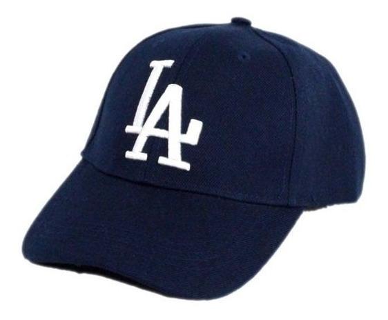 Boné La Dodgers Masculino Azul Marinho Bordado Branco