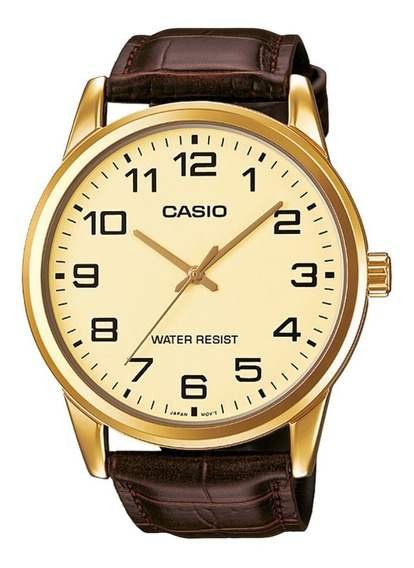 Relogio Casio Masculino Collection Couro Mtp-v001gl-9budf