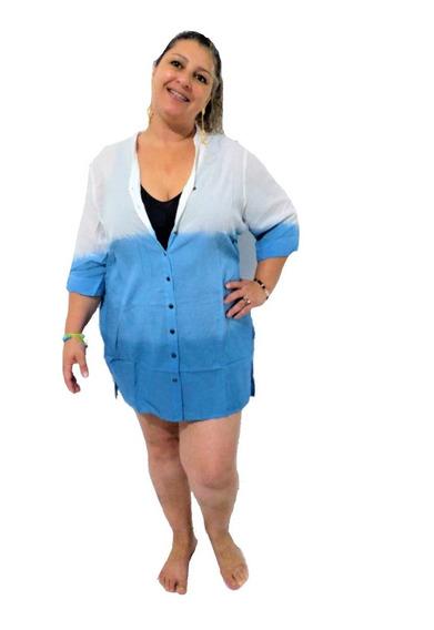 Saída De Praia Camisão Blusa Plus Size Branca Azul Chamise