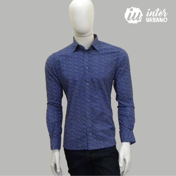 Camisa Social Masculina Estampada Slim Fit