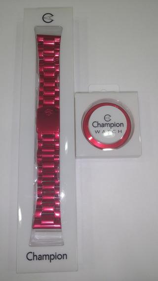 Kit Com Pulseira E Aro Aluminio Vermelha Original Champion