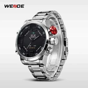 Relógio Weide 2309 Prata Digital Analógico Led Luxo Promoção