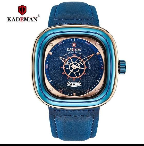 Relógio Kademan Azul Com Pulseira Em Couro A Pronta Entrega