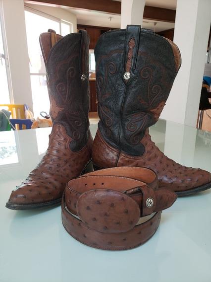Botas Y Cinturón Montana Original Avestruz Auténtico Usados