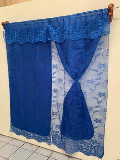 Cortina Encaje Color Azul Rey 1.95 De Alto X 1.84 De Ancho.