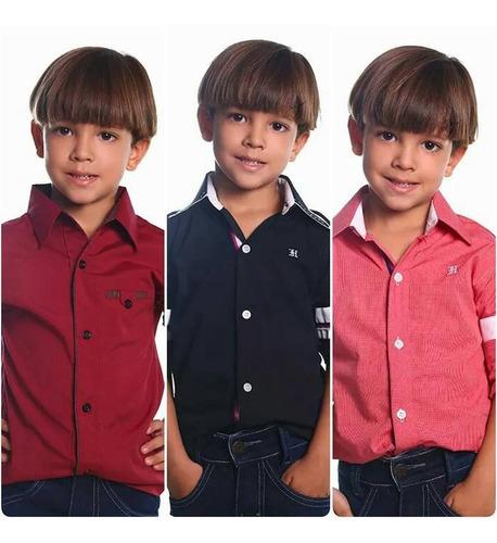 Imagem 1 de 3 de Camisas Infantil Social Manga Longa 2 A 12 Anos