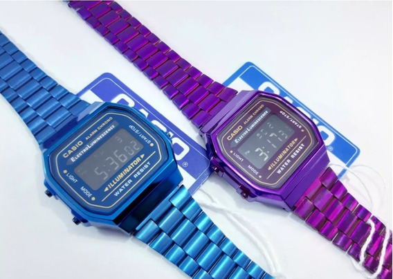Reloj Casio Vintage A168 Azul Y Morado 2 Piezas.