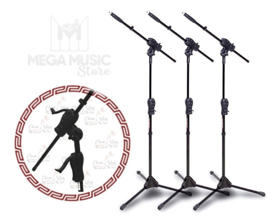 Pedestal Suporte Para Microfone Ibox Estante Girafa Kit 3 Pç