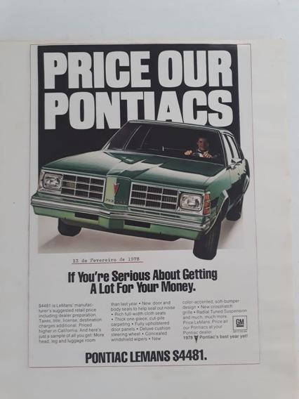 Publicidade Anúncio Propaganda Pontiacs 1978 Raro Coleção!