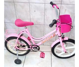Bicicleta Monark Brisa Infantil Aro 16 Rosa Toda Restaurada