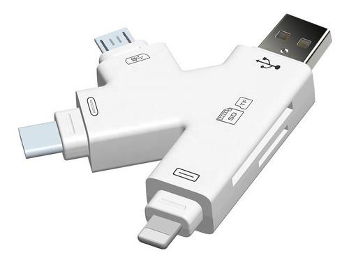 Imagen 1 de 9 de Lector Memoria Adaptador Lightning Usb C Otg Sd Micro Usb