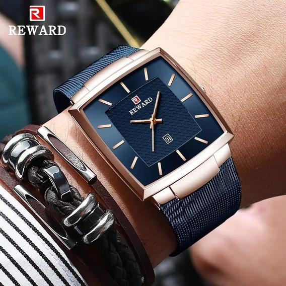 Relógio Masculino Luxo Retangular Com Caixa Original