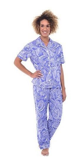 Alexander Del Rossa Pijama Algodón 2xl Dama Blue Paisley