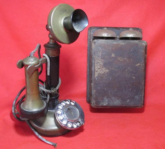 Antiguo Telefono Candelero Nacional Con Caja Union #l