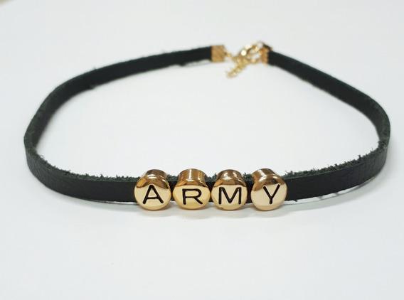 Colar Bts Army Kpop Couro - Dourado