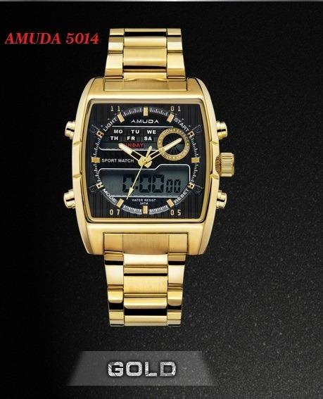 Relógio Pulso Masculino Dourado Luxo Amuda + Promoção Barato