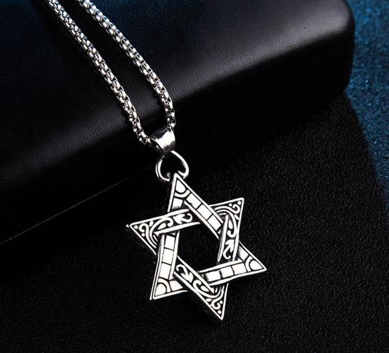 Colar Vintage Estrela De Davi 100% Aço Inoxidável