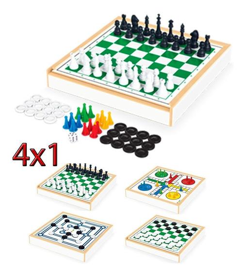 Conjunto 4x1 Jogos Tabuleiro Xadrez Damas Trilha Ludo