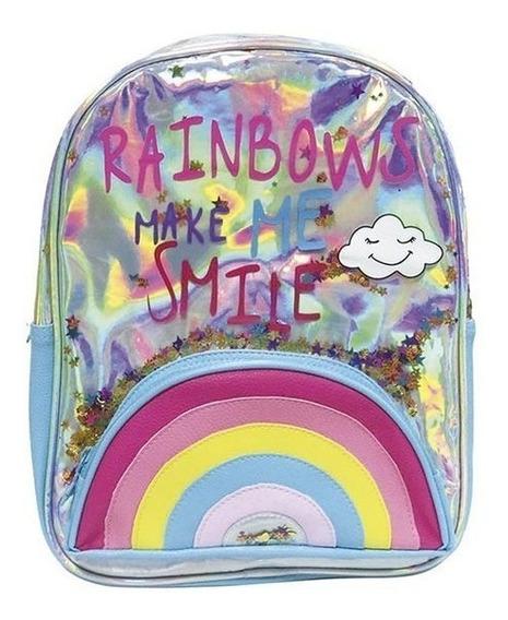 Mochila Espalda Rainbow Holografica 15 Pulgadas Cresko