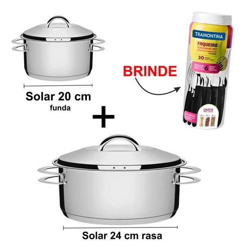 Kit Panelas Inox Tramontina Solar 24 E 20 Cm Com Faqueiro