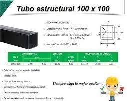Tubo Estructural 100 X 100 X 12 Mts