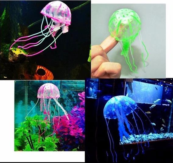 2 Ornamentos Aquário Medusa Água Viva Enfeite Silicone