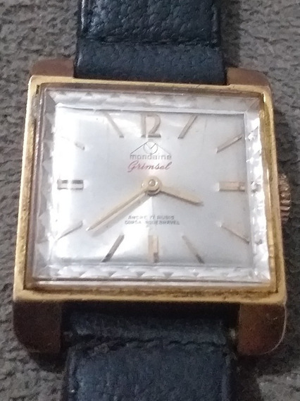 Relógio Antigo Mondaine Grinsel Ancre 17 Rubis Coroa Inquebr
