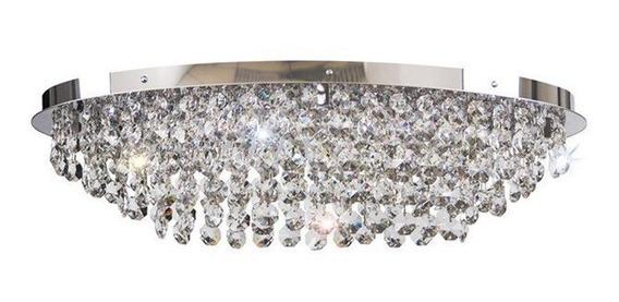 Plafon Itália Oval Cromado 6 Lâmpadas Bronzearte