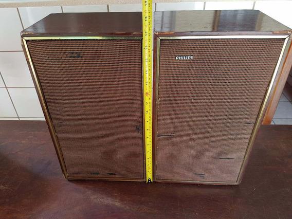 Par De Caixas Acústicas Philips Em Madeira - Funcionando