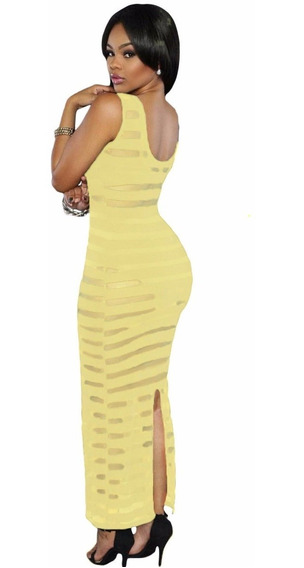 Vestido Largo Sexy Amarillo Con Franjas Transparencias 61100