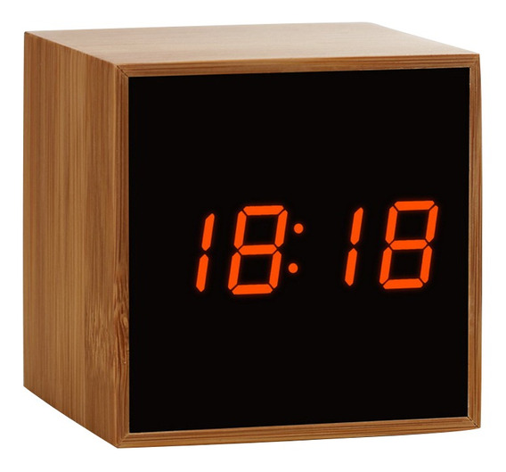 Reloj Despertador Digital Led Cuadrado De Madera De Bambú