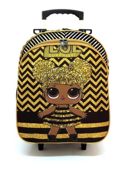 Mochila Infantil Boneca Lol Queen Dourada Rodinhas Tam M F5