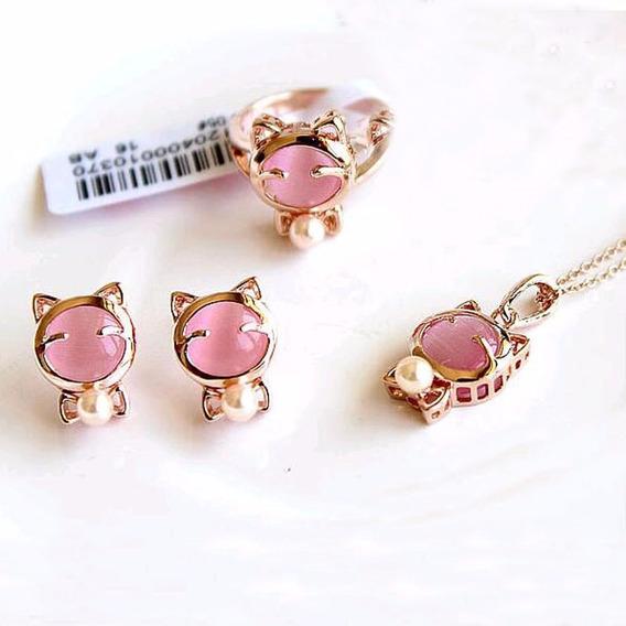 Set Collar + Aretes + Anillo Gatitos Color Rosa Regalo