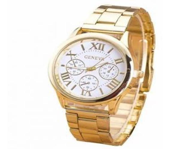 Relógio Feminino Dourado Luxo Casual Geneva