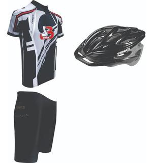 Conjunto Ciclismo Penks Roud Cinza Camisa+bermuda+capacete