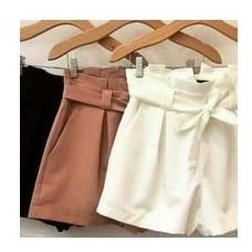 Shorts Feminino Justo Cintura Alta Tecido Bergaline