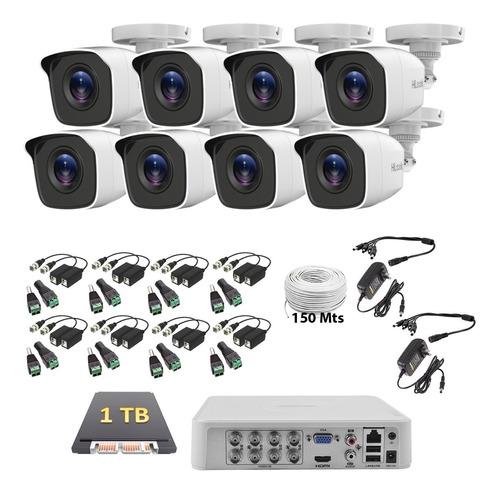 Imagen 1 de 6 de Kit Cctv Hikvision 8 Camaras 1080p 2mp 1 Tb 150m Baluns