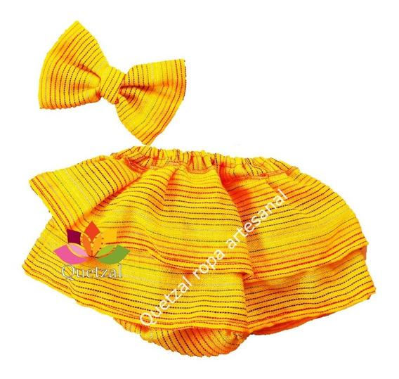 Falda Mexicana Rebozo Bebé Baby Bloomers Cambaya Vestido