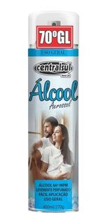 Alcool 70% Spray Aerossol Para Limpeza Geral 400ml Cx C/48