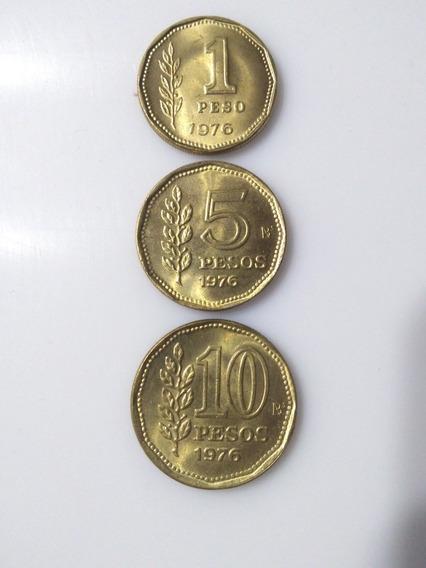 Monedas Argentinas,año 1976- 1 -5-y 10$