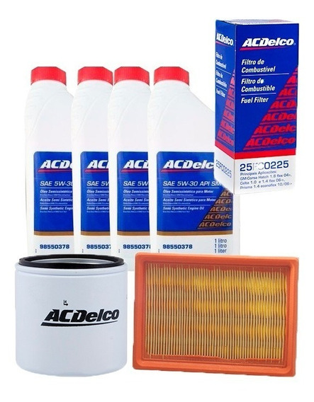 Kit Troca Oleo Filtros 5w30 Semissintetico Celta/prisma Gm